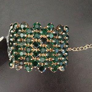 Natasha Green & Gold Crystals Bracelet adjustable